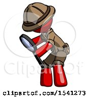 Red Explorer Ranger Man Inspecting With Large Magnifying Glass Left