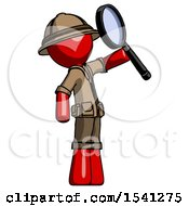 Red Explorer Ranger Man Inspecting With Large Magnifying Glass Facing Up