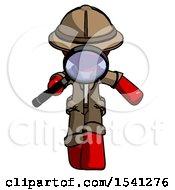 Red Explorer Ranger Man Looking Down Through Magnifying Glass