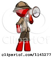 Red Explorer Ranger Man Shouting Into Megaphone Bullhorn Facing Right
