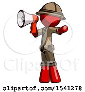 Red Explorer Ranger Man Shouting Into Megaphone Bullhorn Facing Left