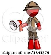 Red Explorer Ranger Man Holding Megaphone Bullhorn Facing Right