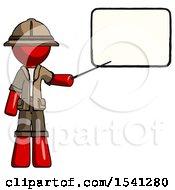 Red Explorer Ranger Man Giving Presentation In Front Of Dry Erase Board