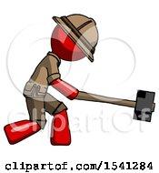 Red Explorer Ranger Man Hitting With Sledgehammer Or Smashing Something