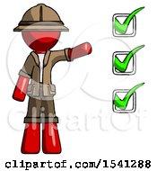 Red Explorer Ranger Man Standing By List Of Checkmarks