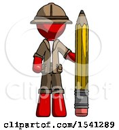 Red Explorer Ranger Man With Large Pencil Standing Ready To Write