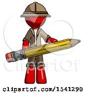 Red Explorer Ranger Man Writer Or Blogger Holding Large Pencil