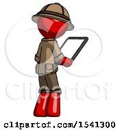 Red Explorer Ranger Man Looking At Tablet Device Computer Facing Away