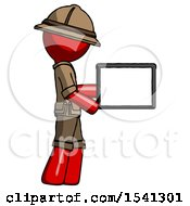 Red Explorer Ranger Man Show Tablet Device Computer To Viewer Blank Area
