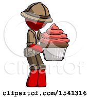 Red Explorer Ranger Man Holding Large Cupcake Ready To Eat Or Serve