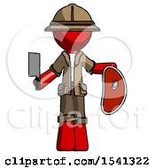 Red Explorer Ranger Man Holding Large Steak With Butcher Knife