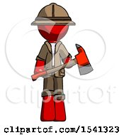 Red Explorer Ranger Man Holding Red Fire Fighters Ax
