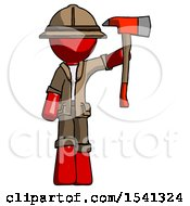 Red Explorer Ranger Man Holding Up Red Firefighters Ax
