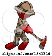 Red Explorer Ranger Man Striking With A Red Firefighters Ax