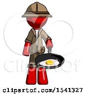 Red Explorer Ranger Man Frying Egg In Pan Or Wok