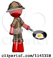 Red Explorer Ranger Man Frying Egg In Pan Or Wok Facing Right