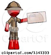 Red Explorer Ranger Man Holding Large Envelope