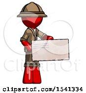 Red Explorer Ranger Man Presenting Large Envelope