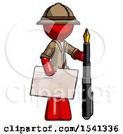 Red Explorer Ranger Man Holding Large Envelope And Calligraphy Pen