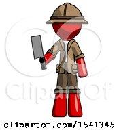 Red Explorer Ranger Man Holding Meat Cleaver