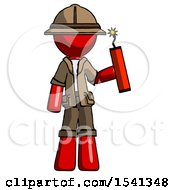 Red Explorer Ranger Man Holding Dynamite With Fuse Lit