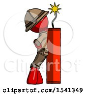 Red Explorer Ranger Man Leaning Against Dynimate Large Stick Ready To Blow