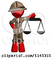 Red Explorer Ranger Man Holding Scales Of Justice