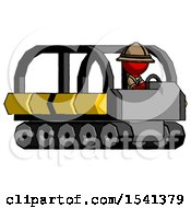 Red Explorer Ranger Man Driving Amphibious Tracked Vehicle Side Angle View