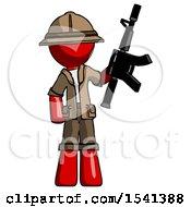 Red Explorer Ranger Man Holding Automatic Gun