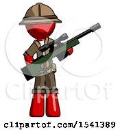 Red Explorer Ranger Man Holding Sniper Rifle Gun
