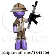 Purple Explorer Ranger Man Holding Automatic Gun