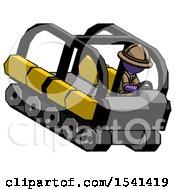 Purple Explorer Ranger Man Driving Amphibious Tracked Vehicle Top Angle View