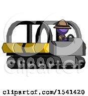 Purple Explorer Ranger Man Driving Amphibious Tracked Vehicle Side Angle View