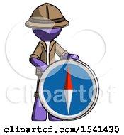 Purple Explorer Ranger Man Standing Beside Large Compass