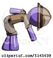 Purple Explorer Ranger Man Picking Something Up Bent Over