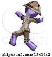 Purple Explorer Ranger Man Running Away In Hysterical Panic Direction Left