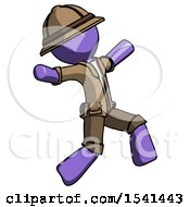 Purple Explorer Ranger Man Running Away In Hysterical Panic Direction Right