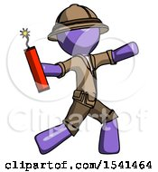 Purple Explorer Ranger Man Throwing Dynamite