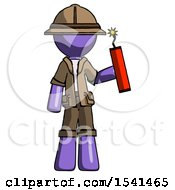 Purple Explorer Ranger Man Holding Dynamite With Fuse Lit