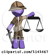 Purple Explorer Ranger Man Justice Concept With Scales And Sword Justicia Derived