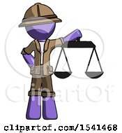 Purple Explorer Ranger Man Holding Scales Of Justice