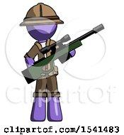 Purple Explorer Ranger Man Holding Sniper Rifle Gun