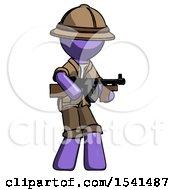 Purple Explorer Ranger Man Tommy Gun Gangster Shooting Pose