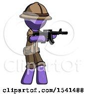 Purple Explorer Ranger Man Shooting Automatic Assault Weapon