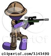 Purple Explorer Ranger Man Kneeling Shooting Sniper Rifle