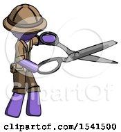 Purple Explorer Ranger Man Holding Giant Scissors Cutting Out Something