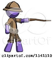 Purple Explorer Ranger Man Pointing With Hiking Stick