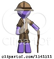 Purple Explorer Ranger Man Standing With Hiking Stick