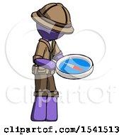 Purple Explorer Ranger Man Looking At Large Compass Facing Right