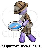 Purple Explorer Ranger Man Walking With Large Compass